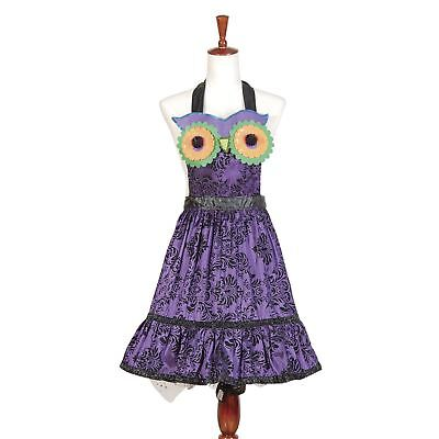 Women's Purple Owl Gothic Pinup Girl Halloween Costume Retro Vintage Style Apron