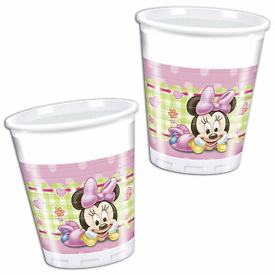 16 x Baby Minnie Mouse Plastic Cups 200ml Birthday Party Tableware Supplies