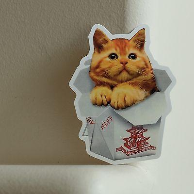 Chinese Food Box (Chinese Food Take Out Box Kitten Cat NEFF 6.5x9cm DECAL STICKER)
