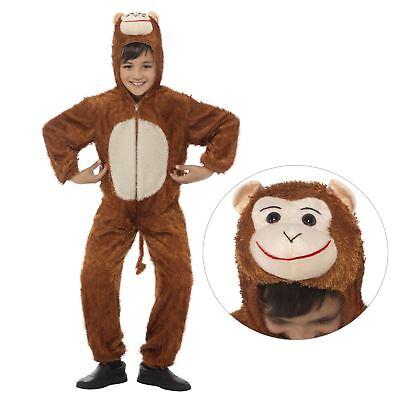 Kinder Jungen Mädchen Wildes Tier Affe Schimpanse Overall Kostüm Buch Tag Kostüm ()