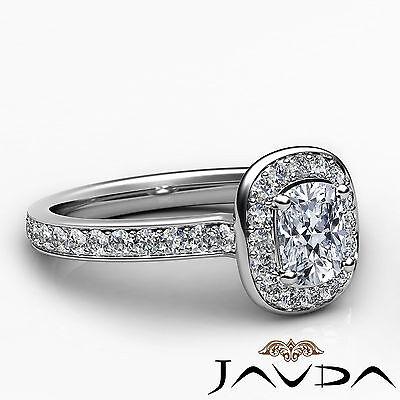 Cushion Cut Halo Pre-Set Diamond Engagement Ring GIA G Color VS2 Platinum 0.87Ct 2