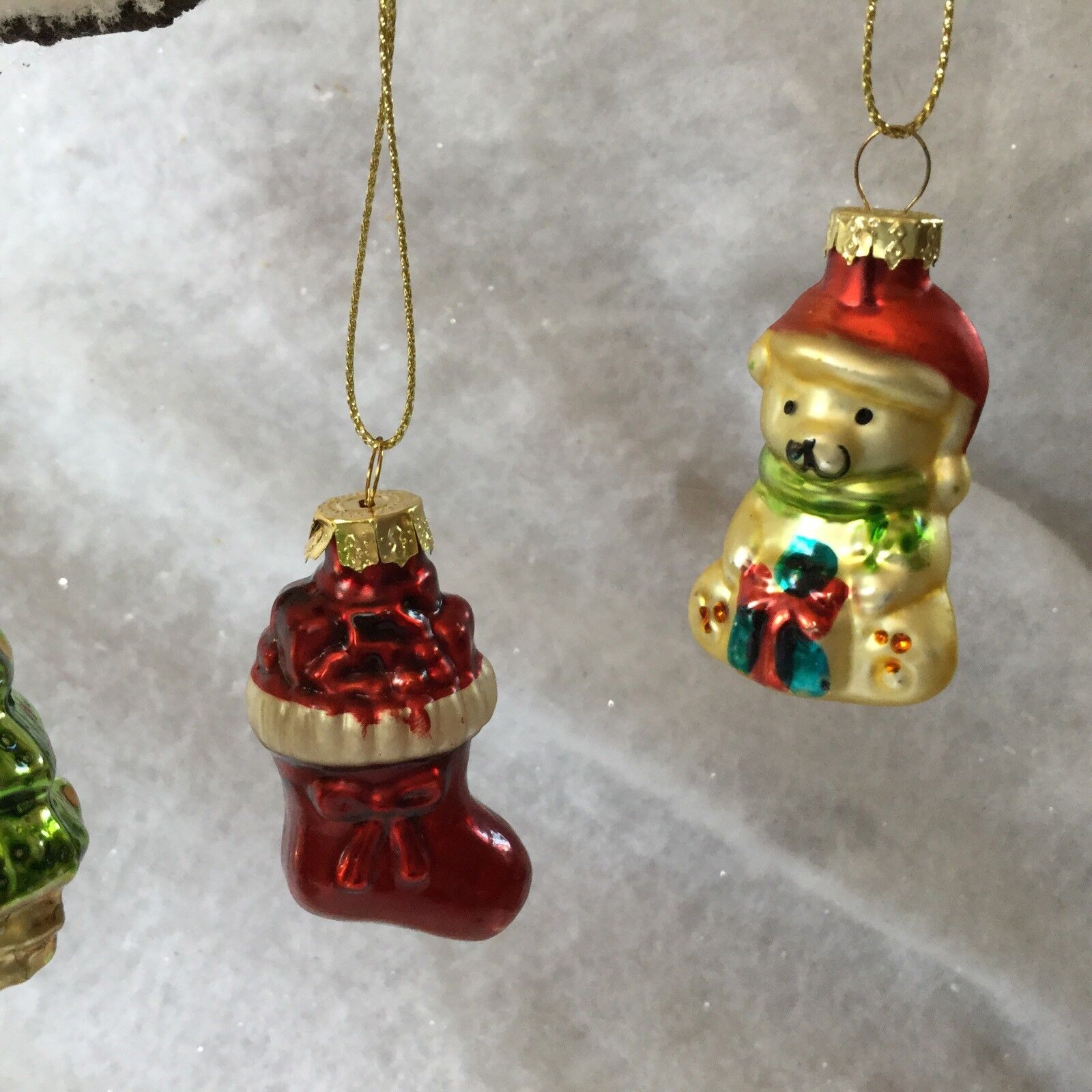 6 X Vintage Retro Style Glass Christmas Tree Decorations