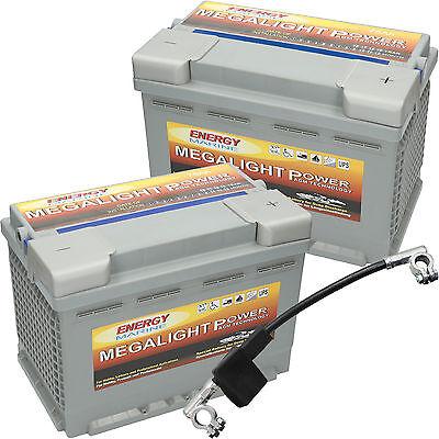 2 x Megalight 12V 75AH AGM Batterie für Alarmanlage, Brandmeldeanlage 24 Volt