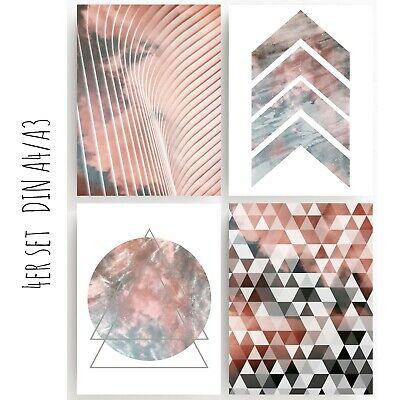 Geometrische Drucken (Druck FINE ART  Bild Poster  4er SET PRINT  GEOMETRISCH  ABSTRAKT Deko )