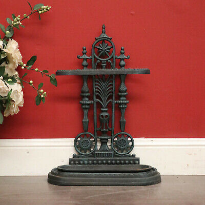 Vintage French Cast Iron Umbrella Stand with Drip Tray, Cane Stand, or Door Stop