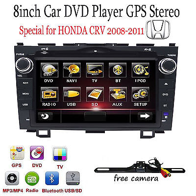 8  Car Gps Dvd Player Bt Radio Rds For Honda Cr V Crv 2008 2009 2010 2011 Cam