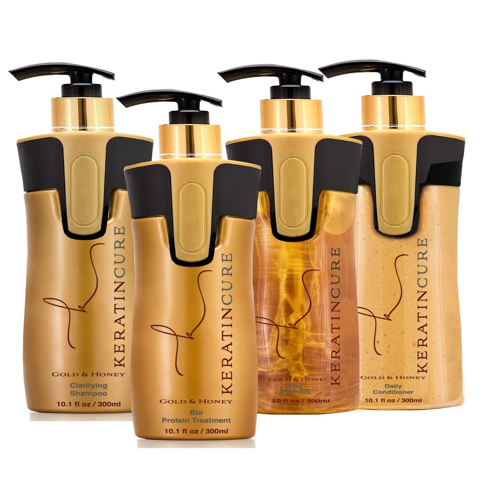 Keratin Cure 0% Formaldehyde 4 Piece Gold & Honey Kit 300ml