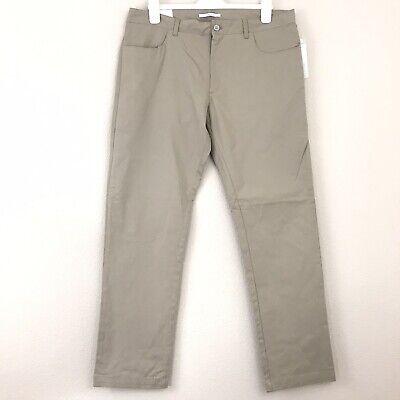 Calvin Klein Men Pant 36x32 Khaki Slim Fit Casual Stretch Flat Front Pockets New Casual Pant Khaki