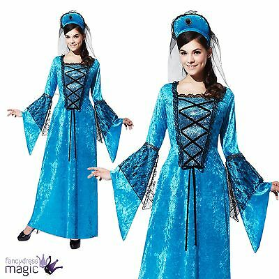 Ladies New Blue Medieval Royal Tudor Princess Queen Costume Outfit Size 10 12 14