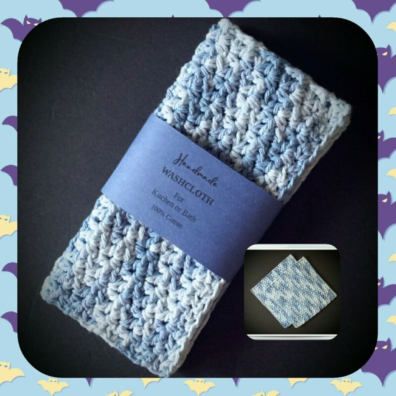👗💙(2) Cotton Wash/Face Cloths Exfoliating Cleansing Crochet Dish Faded Denim👖