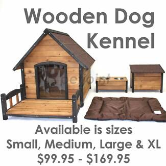 5 Sizes Wooden Dog Kennel Pet Homes Pup Timber Wood Outdoor House