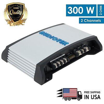 (New Audiotek 2 Channel 300 Watt Amp A/B Class Car Audio Stereo Amplifier | AT302)
