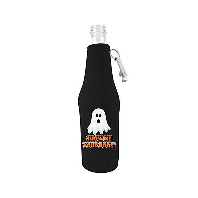 Halloween Beer Koozies (Show Me Your Boos! Beer Bottle Coolie with attached Bottle Opener;)
