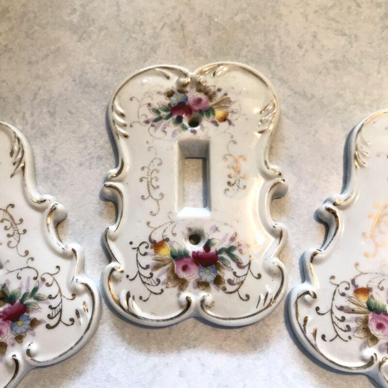 LOT (3) Vintage Arnart Creations Porcelain Light Switch Plate Covers C3380