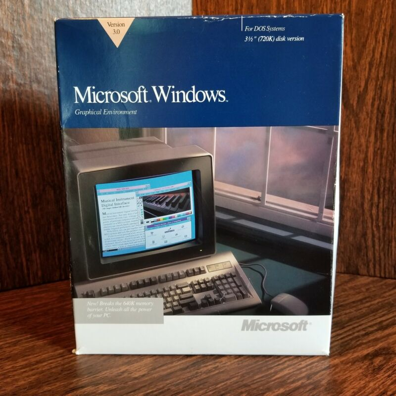 Vintage Microsoft Software Windows Graphical Environment Version 3.0 Open Bx DOS