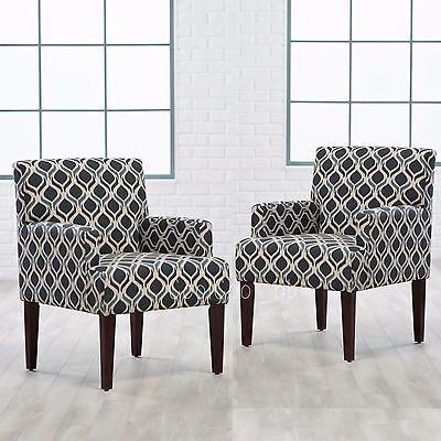 2 Piece Upholstered Geometric Pattern Accent Arm Chair Set Home Living (2 Piece Upholstered Arm Chair)