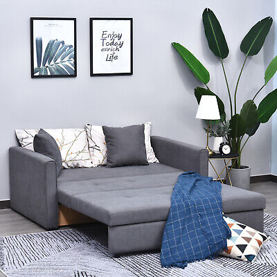 3-in-1 2-Seater Sofa Bed w/Storage Foam Padding Compact Wood Frame Grey Fabric