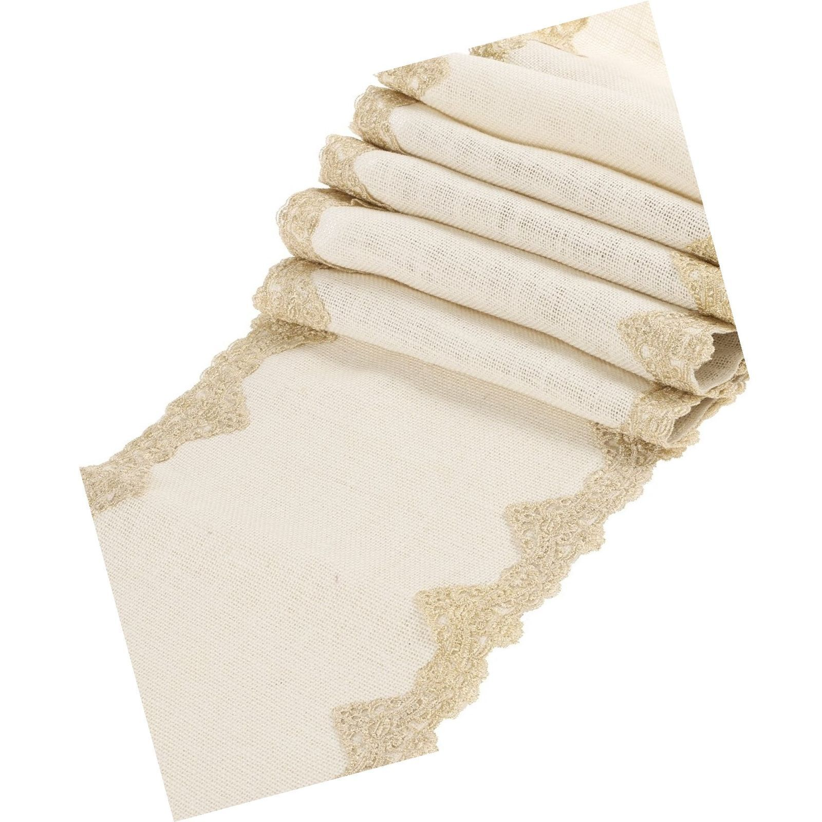 Ling's moment 12x72 inch Ivory Burlap Hessian Table Runner w