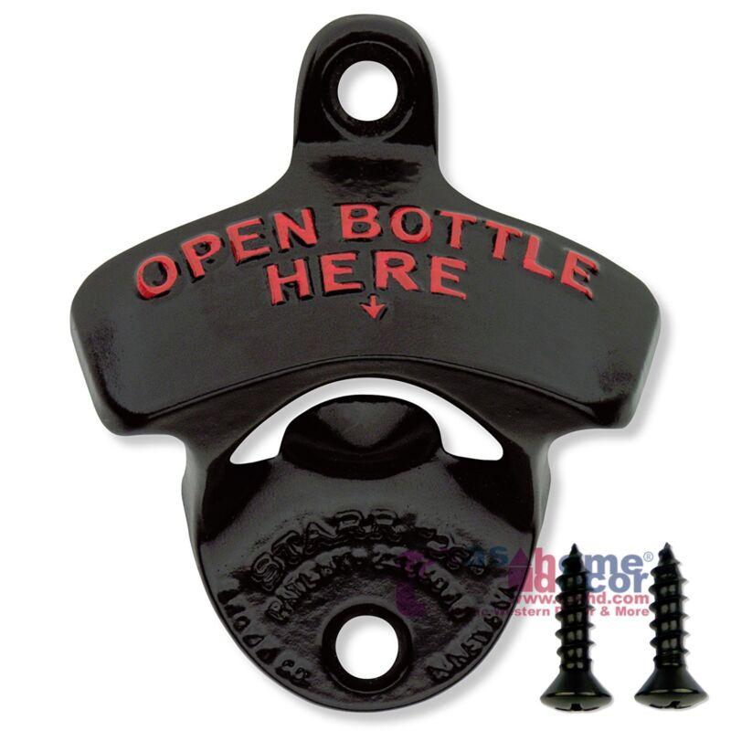 BLACK Starr X OPEN BOTTLE HERE Wall Mounted Stationary Bottle Opener w/ SCREWS
