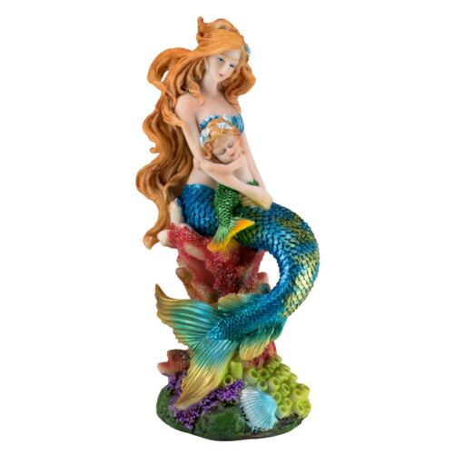 """Blue Mermaid On Coral Holding Green Baby Figurine Statue 8.25""""H Resin New!"""