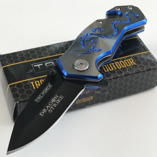 """3.5"""" TAC-FORCE Blue Dragon Small Tactical Survival Rescue Pocket Knife Open Mini"""