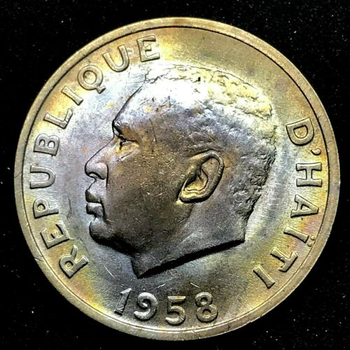 1958 Haiti 10 Centimes, Brilliant Uncirculated, Toned Coin KM#63