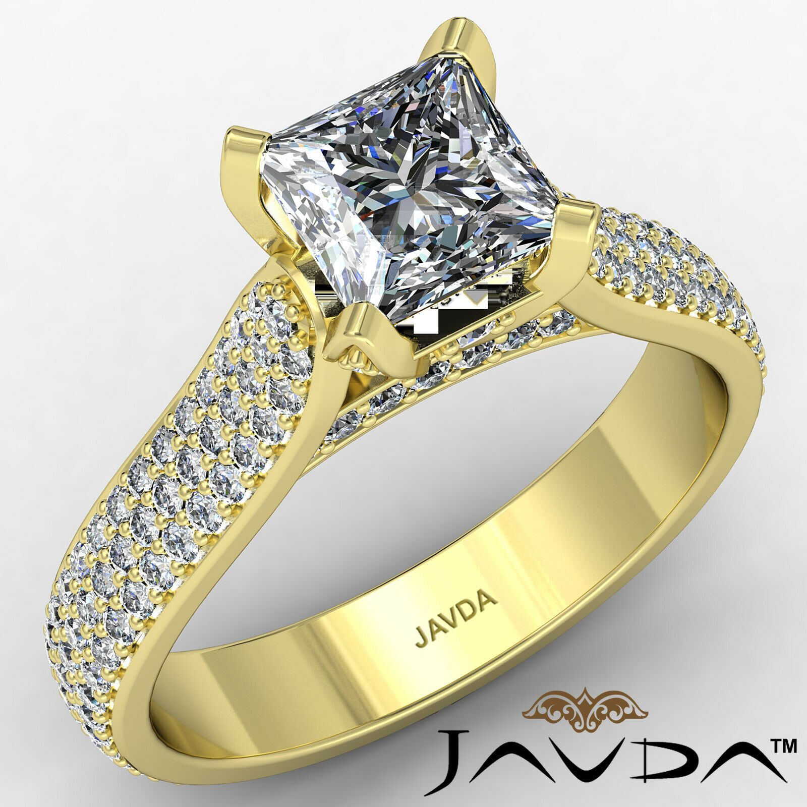 Princess Diamond Engagement Micro Pave Ring GIA E Color & SI1 clarity 1.95 ctw 1