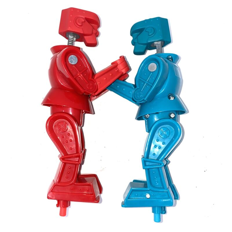 Vintage Rockem Sockem Blue Bomber Red Rocker Boxing Robots 2001 Mattel Toy Fight