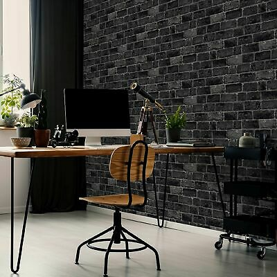 Fresco House Brick Charcoal Wallpaper