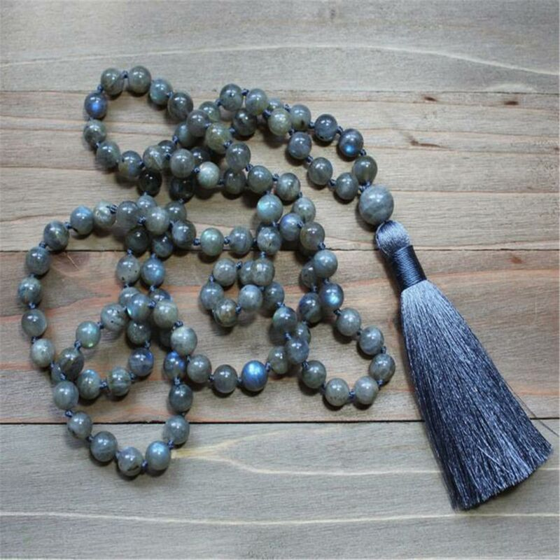 8mm Natural Labradorite 108 Beads Tassel Knotted Necklace Chakra Healing Classic
