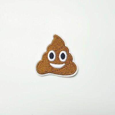 Smiling Poop Emoji Face Iron-On/Sew-On Embroidered Patch Motif, Funny Humor (Smiling Poop Emoji)