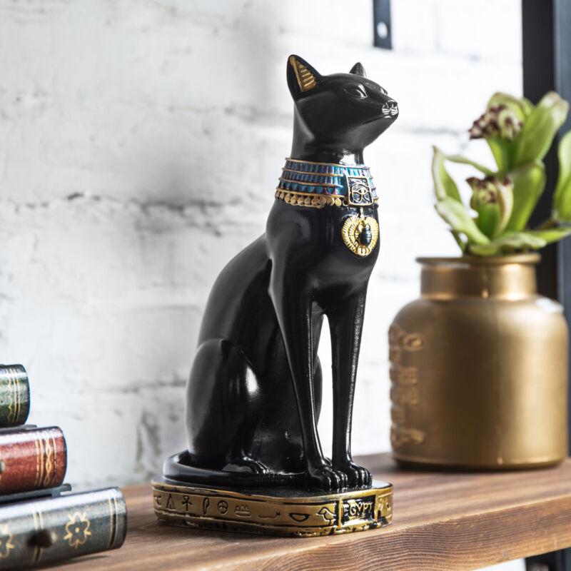 MyGift 9 Inch Resin Egyptian Goddess Black Cat Decorative Statue Figurine