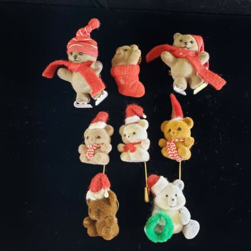 Christmas Holiday  Brooch Pin Lot  Flocked Bears  Stick Pin for REPAIR CRAFTS