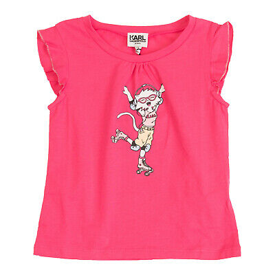 KARL LAGERFELD KIDS T-Shirt Top Size 6Y / 114CM Coated Front Crew Neck