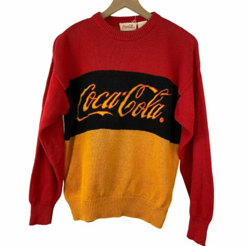 Vintage Coca-Cola Red Black & Yellow Knit Pullover Colorblock Striped Sweater