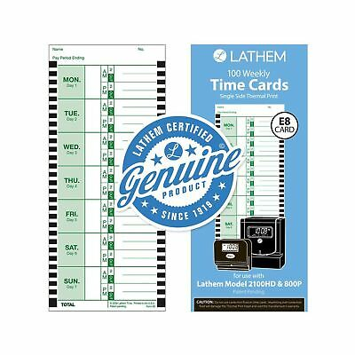100pk Weekly Thermal Print Time Cards Single Sided For Lathem 800p Time Clock 9