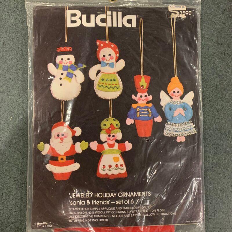 Vintage Bucilla Christmas Ornament Kit 3590 Jeweled Holiday Santa & Friends NOS