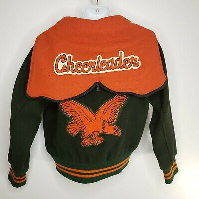 Vintage 80s Wool Varsity Jacket XS Cheerleader Green Orange Snap Front Hooded - Orange Cheerleader Jacket