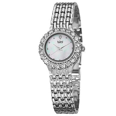 Women's Burgi BUR107SS Swiss Mother Of Pearl Dial Crystal Bezel Silver Watch