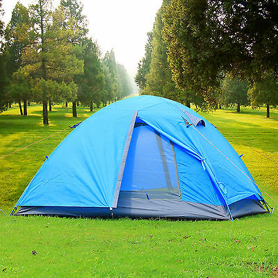 Outdoor 2 Person Double Layer Waterproof Camping Hiking Backpacking Tent Blue