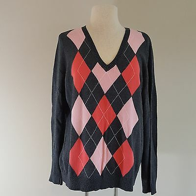 Womens V-neck Argyle Pullover (IZOD Womens Argyle Pullover Sweater V-Neck Gray Coral Pink 100% Cotton Size XL)