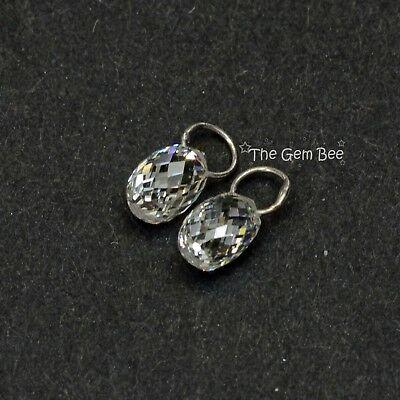 - 18K Solid White Gold Faceted Rose Cut Diamond Teardrop Briolette Charms PAIR