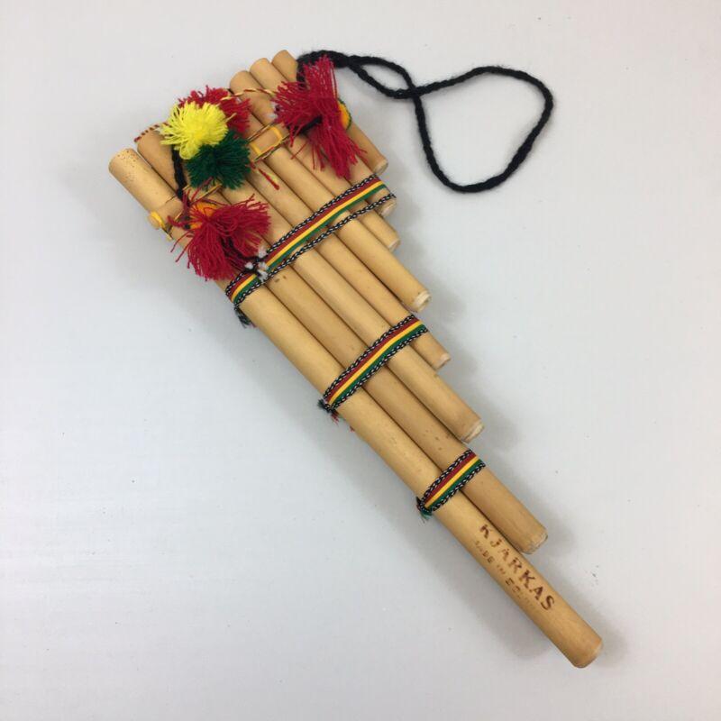 Handmade KJARKAS Bolivian Pan Flute Wind Instrument 15 Pipes Bamboo