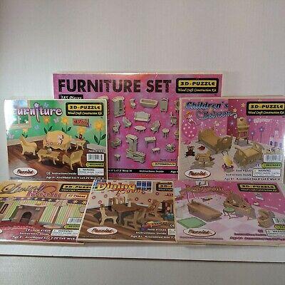 Wooden Dollhouse Furniture Set 3D Puzzle LOT of 6 Living Room Furniture Bathroom