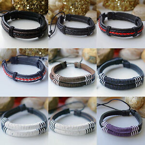 MENS-REAL-LEATHER-SURF-SURFER-BRACELET-WRISTBAND-Choose-Your-Style