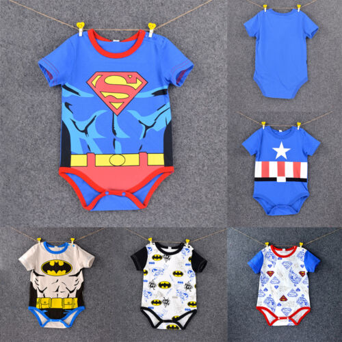 Newborn Baby Boys Girls Superman Cartoon Romper Bodysuit Jumpsuit Outfit Clothes