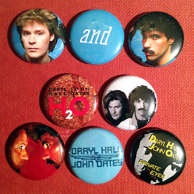 """8 Hall & Oates 1"""" Buttons - FREE SHIPPING! - Rich Girl Maneater Kiss On My List"""