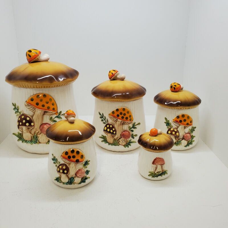 Vintage Ceramic Merry Mushroom Canisters Set of 5 Sears Roebuck and Co 1978