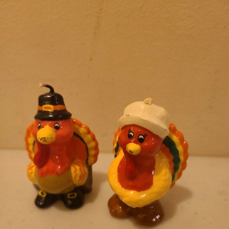 """2 Novelty Wax Candle Figurine Candles Thanksgiving Turkeys male female 3"""" tall"""
