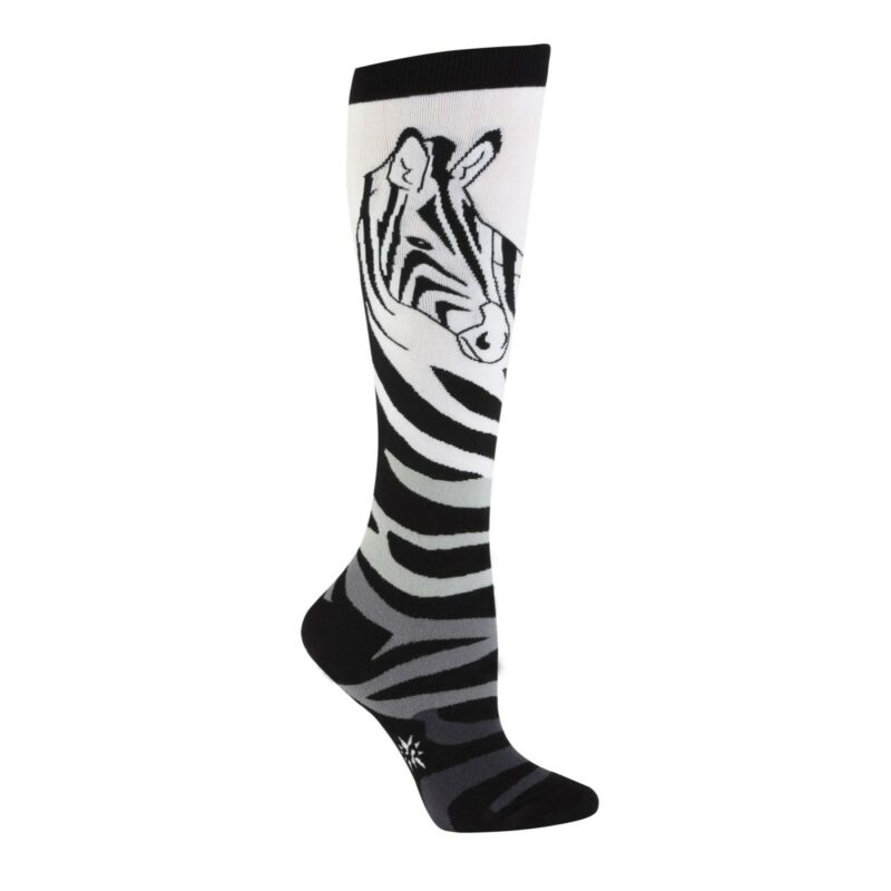 Knee High Socks Black and White Zebra NEW Ladies One Size 9-11 Sock It To Me